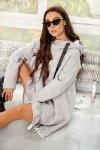 Bawełniana sukienka/bluza z falbaną LN119 - Jasnoszary - 11
