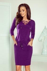 Sukienka z wiązanym dekoltem Janet - Fiolet - numoco 230-4