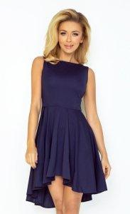 Ekskluzywna sukienka z dłuższym tyłem - Granatowa - numoco 33-3