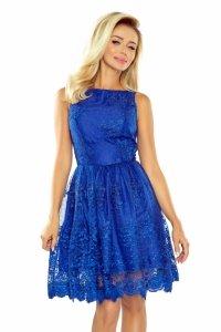 Ekskluzywna rozkloszowana sukienka - Chabrowa - numoco 173-1