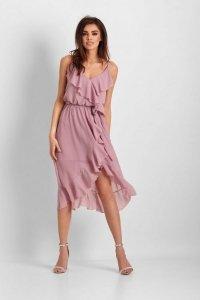 Szyfonowa asymetryczna sukienka Chantal - Różowy - StreetStyle 649