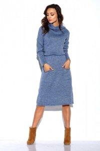 Sweterkowa sukienka z golfem i kieszeniami - StreetStyle  LS257