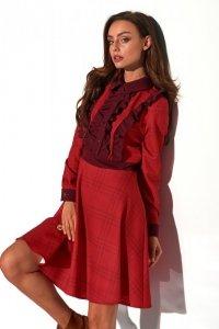 Sukienka krata z żabotem-Streetstyle L321