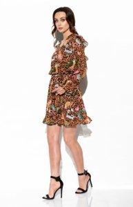Szyfonowa sukienka z jedwabiem i kopertowym dekoltem -StreetStyle  LG516