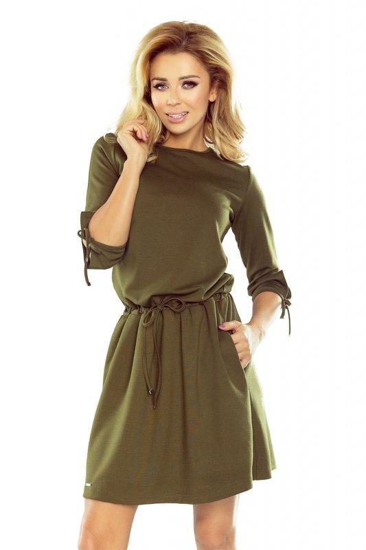 Sukienka sportowa z wiązaniami na rękawkach - Khaki  zielony militarny - numoco 176-2
