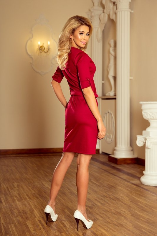 Sukienka z kołnierzykiem Agata - Bordowa - numoco 161-9