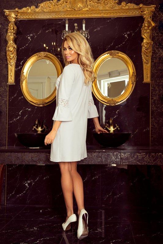 Sukienka z koronką na rękawkach Margaret - Jasny Szary - numoco 190-2
