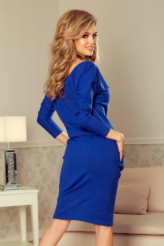 Sukienka dresowa z dekoltem na plecach - Chabrowa