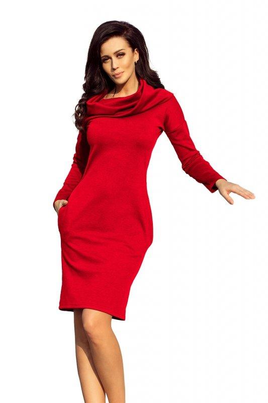 Ciepła sukienka z kieszeniami i Golfem - Czerwona - numoco 131-9