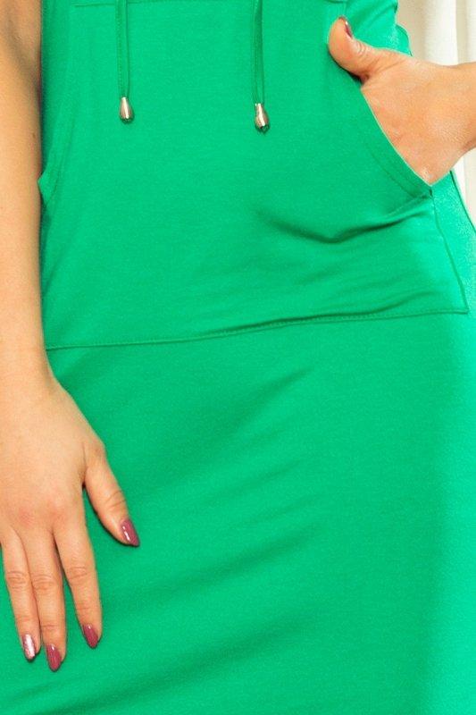 Sukienka Kangurka  z kapturem - Zielona - numoco mm 009-7