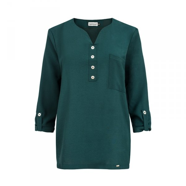 Bluzka z guzikami - Zielona - numoco 259-2