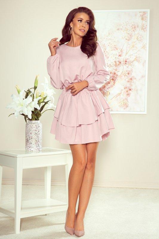 Sukienka z podwójną spódnicą Mattie - Brudny Róż - numoco 289-1