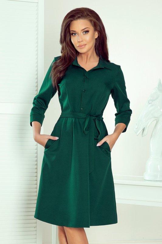 Koszulowa rozkloszowana sukienka Sandy - Zieleń Butelkowa - numoco 286-1