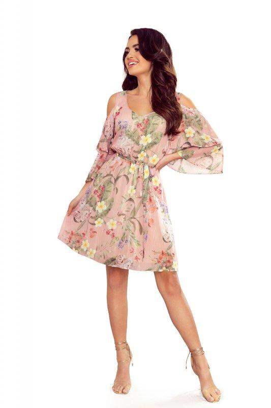 Zwiewna szyfonowa sukienka z dekoltem MARINA - RÓŻOWA W KWIATY