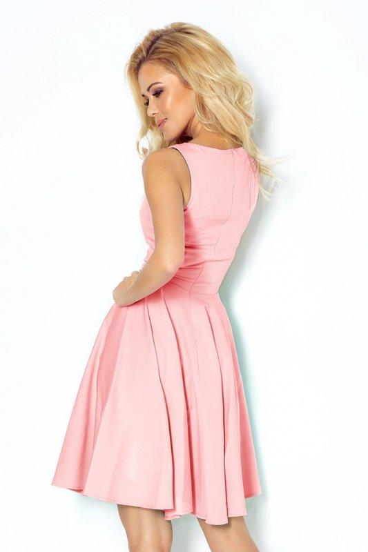 Sukienka z koła - dekolt w kształcie serca - Pastelowy Róż - numoco 114-5
