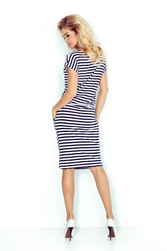 Sukienka sportowa z Krótkim rękawkiem - Paski granatowo-białe - numoco 139-2