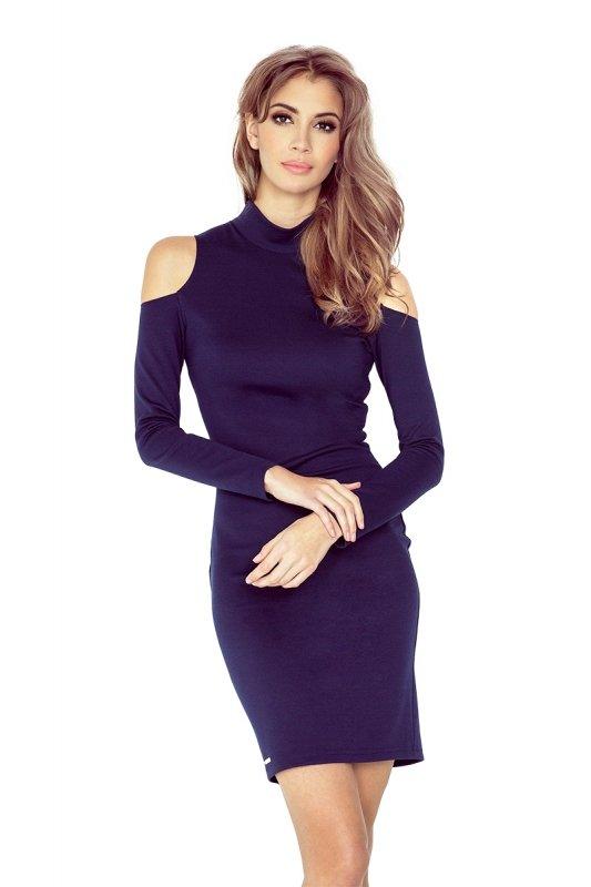 MM 008-1 Sukienka z golfem i długim rękawem - GRANATOWA