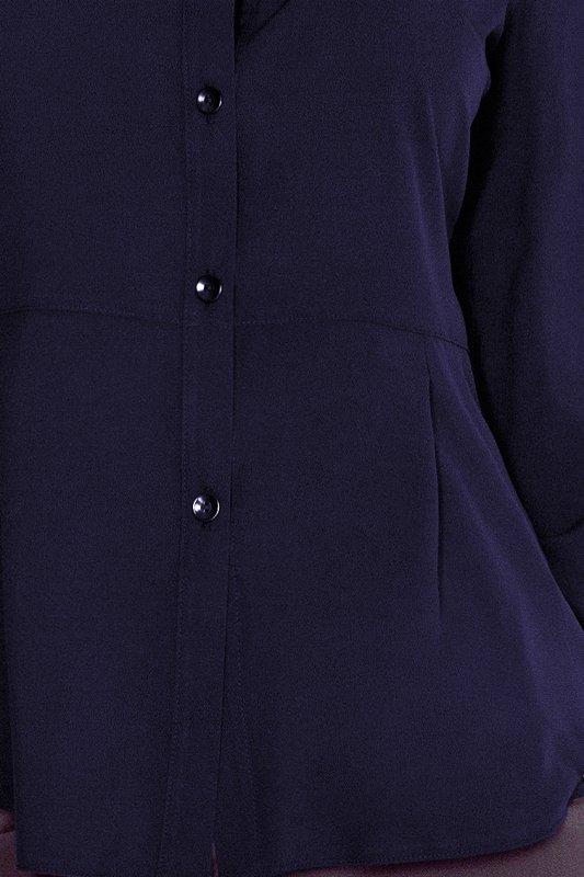Koszula damska  z baskinką - Granatowa - numoco mm016-5