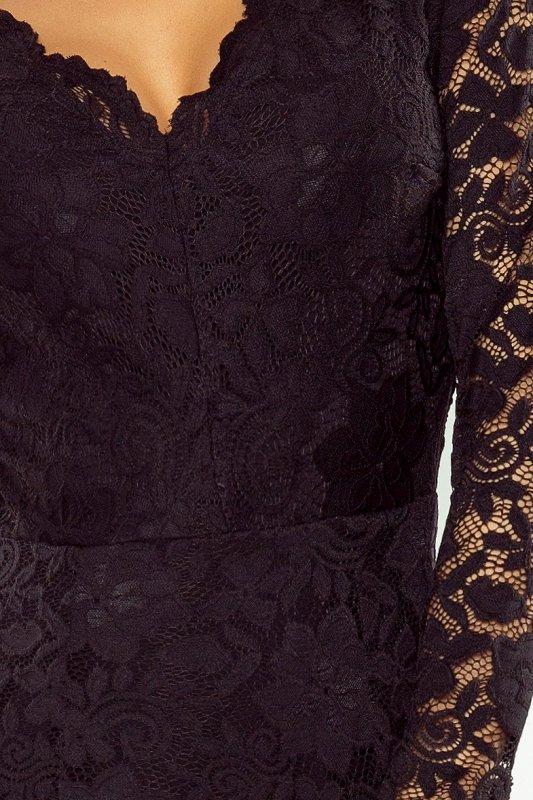 Sukienka koronkowa z długim rękawkiem i Dekoltem - Czarna - numoco 170-1