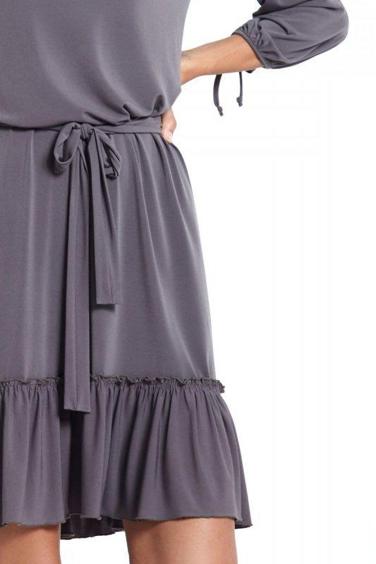 Sukienka z falbanką Roksana - Grafitowa - Ivon