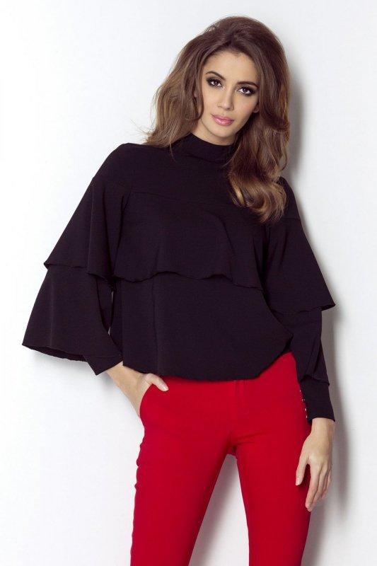 Bluzka koszulowa z falbankami Nelly - Czarna - Ivon
