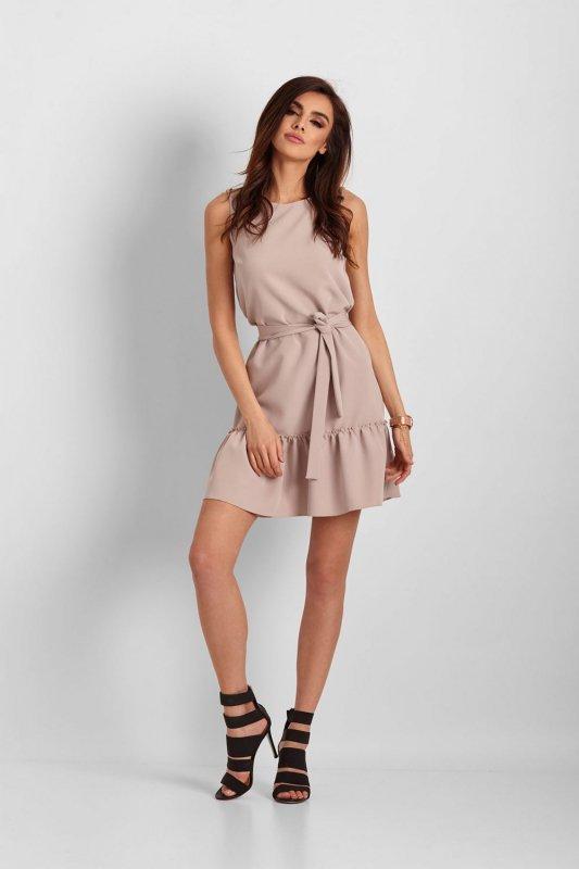 Elegancka sukienka Lorena bez rękawów - Beżowa - StreetStyle 654