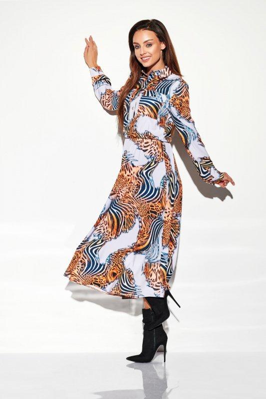 Sukienka szmizjerka maxi wzory - StreetStyle LG503
