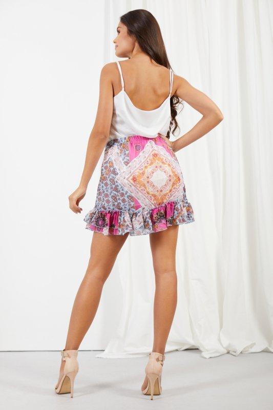Krótka spódniczka z jedwabiem i falbanami -StreetStyle LG520 - druk 17