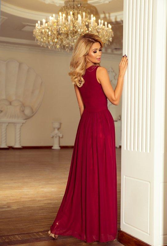 Długa szyfonowa sukienka z rozcięciem Maxi - Bordowa