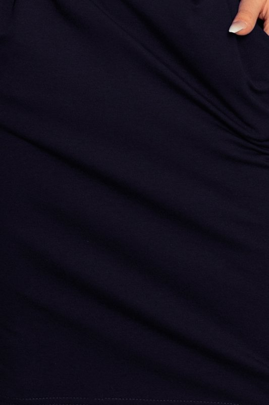 Sukienka dresowa z dekoltem na plecach - Granatowa