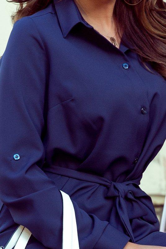 Koszulowa sukienka z guzikami - Granat