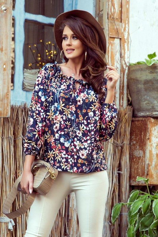 Bluzka hiszpanka z wiązaniem - Kolorowe Kwiaty - Numoco 271-2