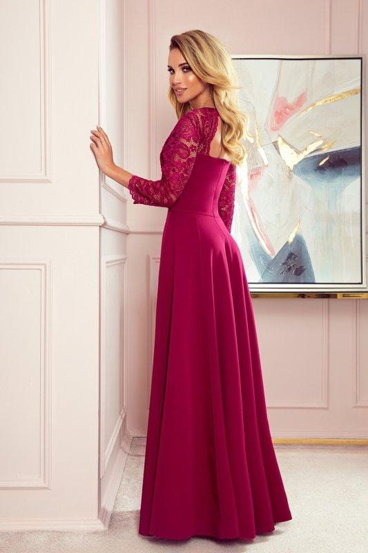 AMBER elegancka koronkowa długa suknia z dekoltem - BORDOWA