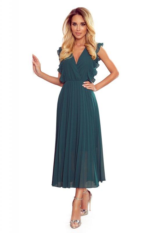 EMILY Plisowana sukienka z falbankami i dekoltem - BUTELKOWA ZIELEŃ - 6
