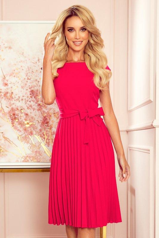 LILA Plisowana sukienka z krótkim rękawkiem - kolor MALINOWY -1