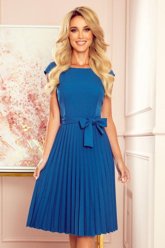 LILA Plisowana sukienka z krótkim rękawkiem - kolor Morski - 1