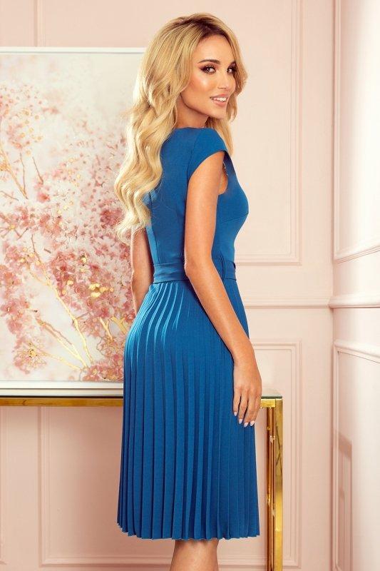 LILA Plisowana sukienka z krótkim rękawkiem - kolor Morski - 4