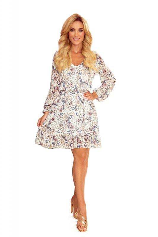 Bakari zwiewna szyfonowa sukienka z dekoltem - KWIATY na jasnym tle - 8