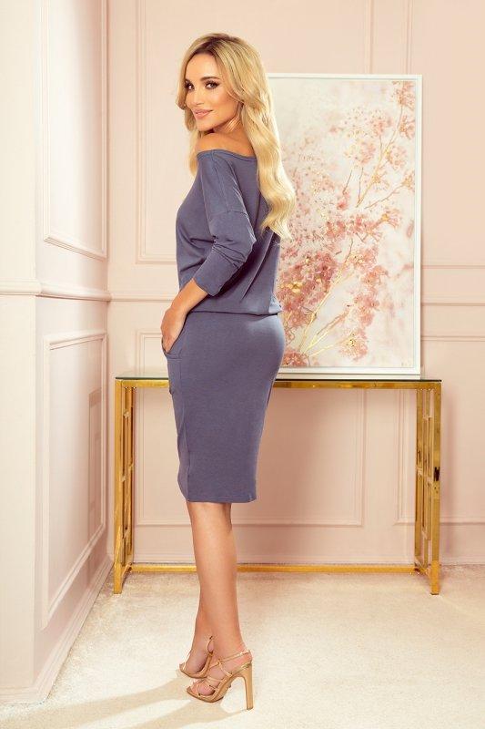 Sukienka sportowa z kieszonkami - kolor STALOWY -2