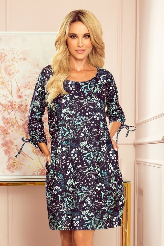 SOPHIE Wygodna sukienka Oversize - Miętowe liście na ciemnym tle-1