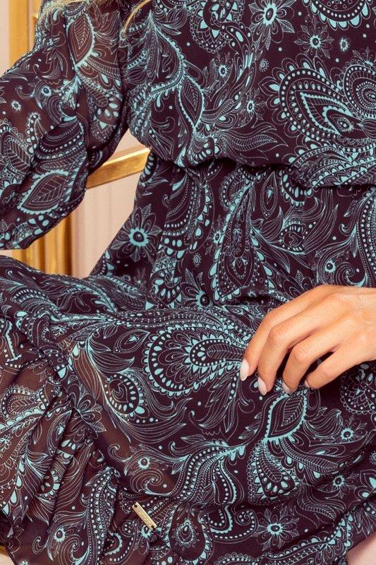Bakari zwiewna szyfonowa sukienka z dekoltem - Turkusowy wzór-5