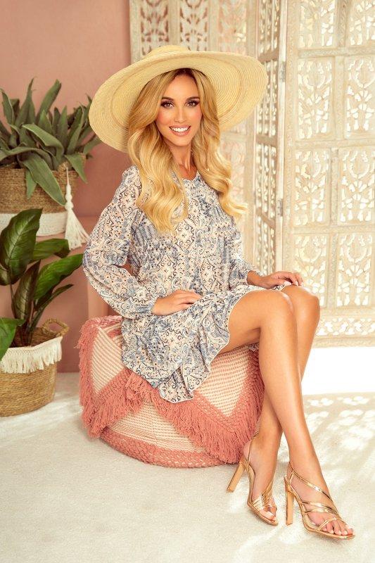 HANNAH szyfonowa sukienka z dekoltem na plecach - beżowo-niebieska-4