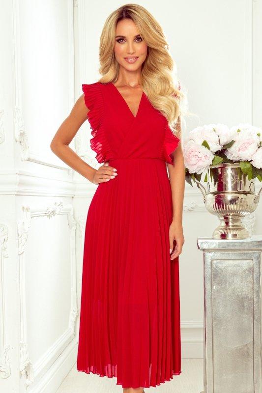 EMILY Plisowana sukienka z falbankami i dekoltem - CZERWONA -1