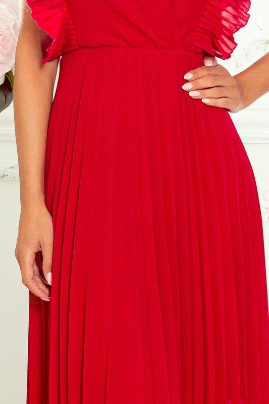 EMILY Plisowana sukienka z falbankami i dekoltem - CZERWONA -5
