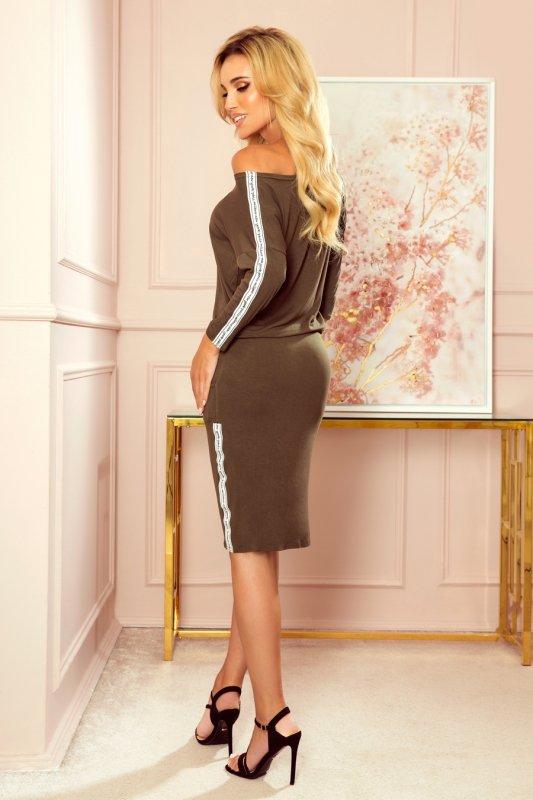 Sukienka sportowa z kieszonkami - KHAKI Z LAMPASAMI - 2