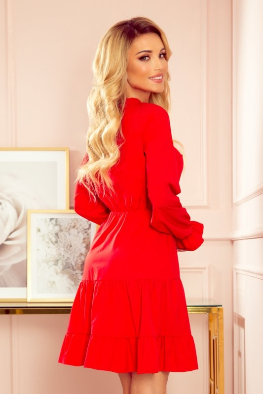 Sukienka z falbankami i złotymi guzikami - Czerwona - 4