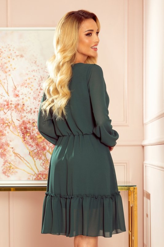Lauren - Szyfonowa sukienka z dekoltem i falbankami - ZIELEŃ BUTELKOWA - 4