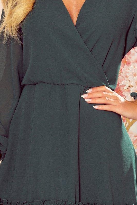 Lauren - Szyfonowa sukienka z dekoltem i falbankami - ZIELEŃ BUTELKOWA - 5