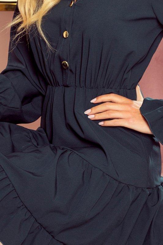 Sukienka z falbankami i złotymi guzikami - ZIELEŃ BUTELKOWA - 5