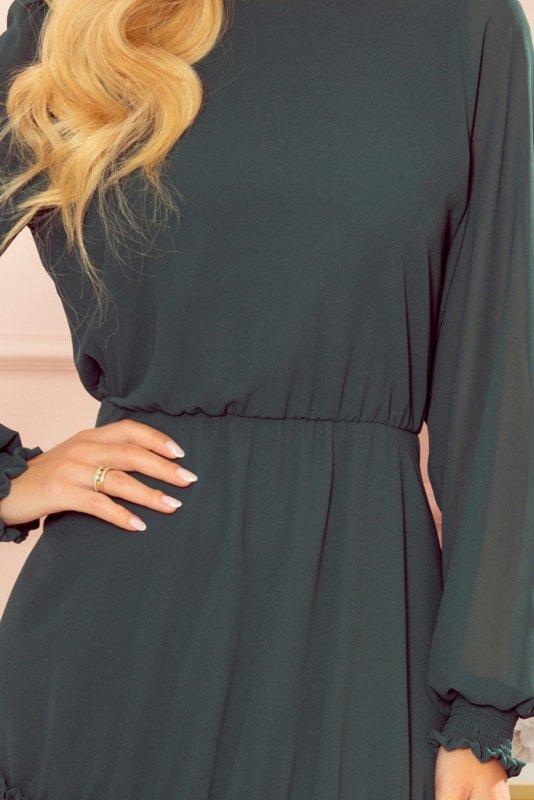 Szyfonowa sukienka z marszczonymi gumkami - Zieleń Butelkowa -5